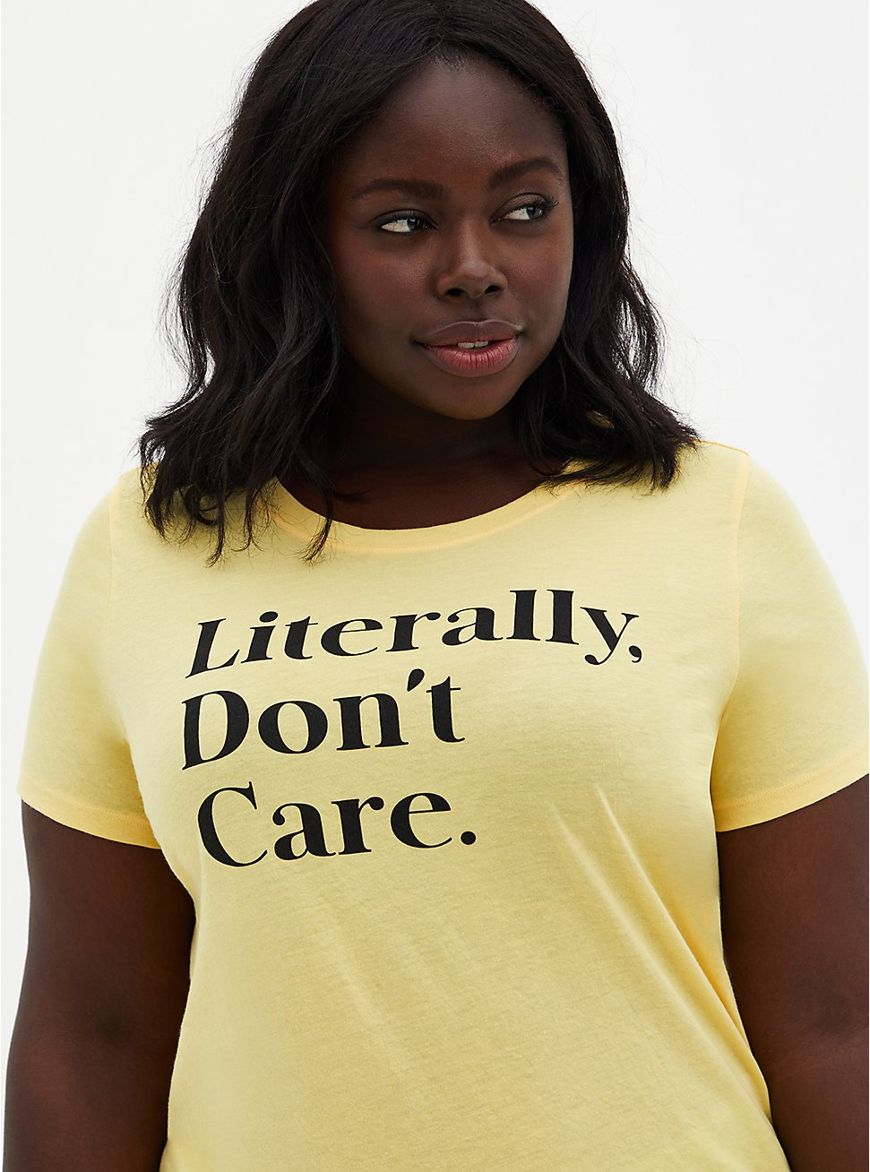 Classic Fit - Literally Don't Care Yellow Crew Tee , SUNDRESS, hi-res
