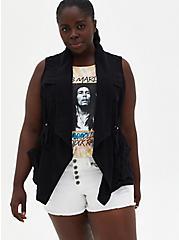 Black Drape Front Gauze Vest, DEEP BLACK, hi-res
