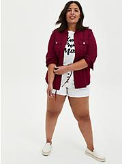 Red Twill Peplum Anorak, BEET RED, alternate