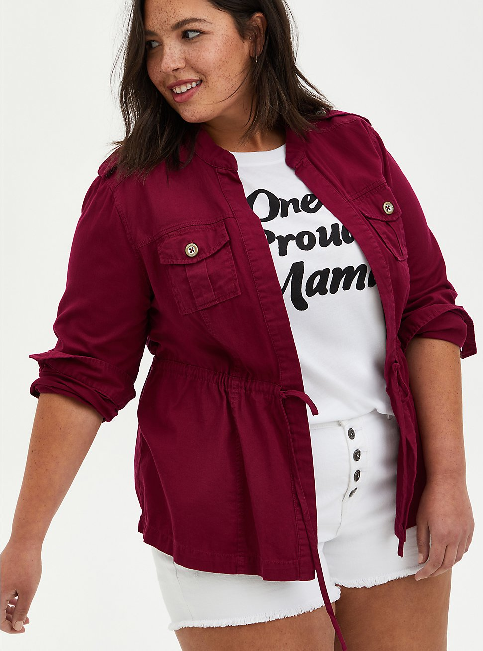 Red Twill Peplum Anorak, BEET RED, hi-res