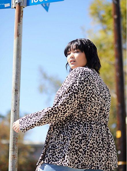 Leopard Print Dualfold Anorak Jacket, LEOPARD, alternate