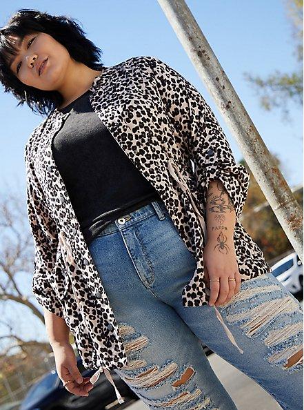 Leopard Print Dualfold Anorak Jacket, LEOPARD, hi-res