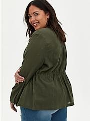 Olive Gauze Embroidered Jacket , DEEP DEPTHS, alternate