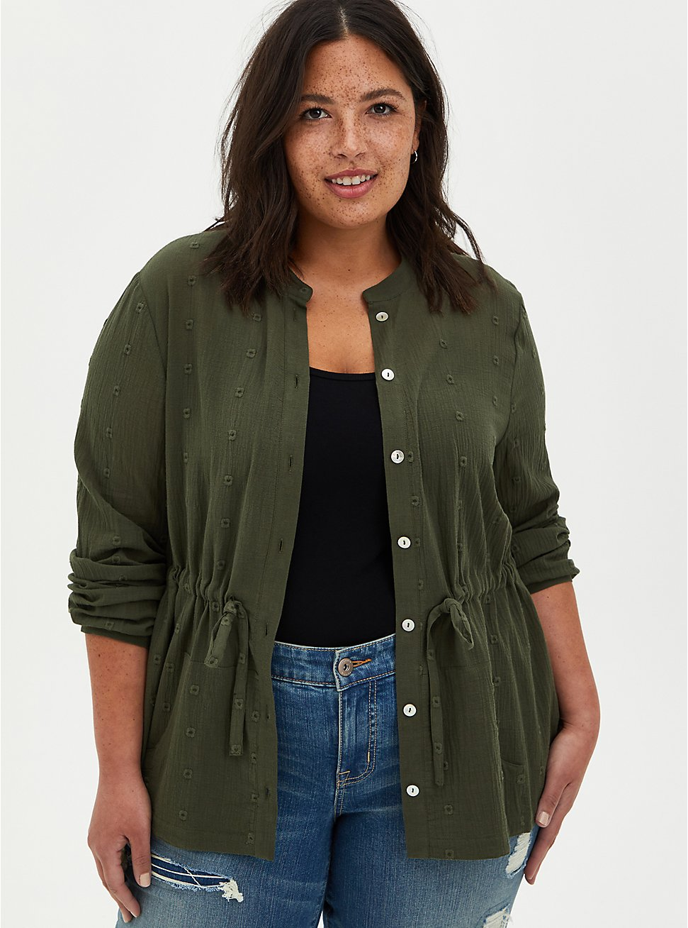 Olive Gauze Embroidered Jacket , DEEP DEPTHS, hi-res