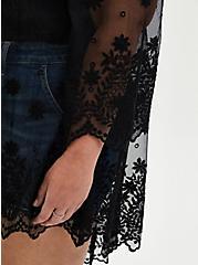 Black Mesh Scallop Embroidered Kimono , DEEP BLACK, alternate