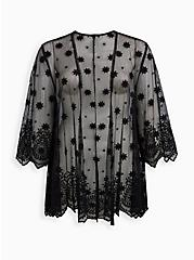 Black Mesh Scallop Embroidered Kimono , DEEP BLACK, hi-res