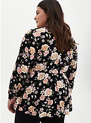 Black Floral Crepe Tie-Front Kimono , FLORAL - BLACK, alternate