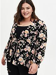 Black Floral Crepe Tie-Front Kimono , FLORAL - BLACK, hi-res