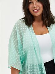 Plus Size Green Sharkbite Clip-Dot Kimono , GRAYED JADE, alternate