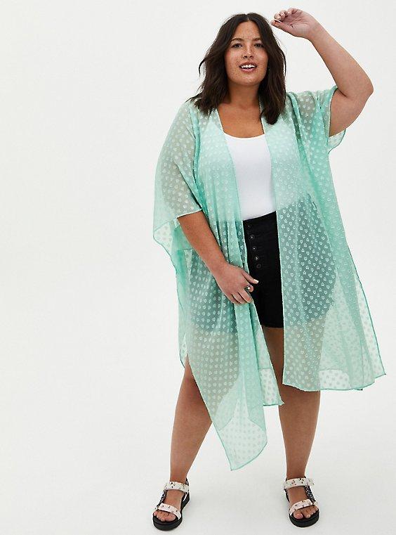 Green Sharkbite Clip-Dot Kimono , GRAYED JADE, hi-res