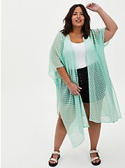 Plus Size Green Sharkbite Clip-Dot Kimono , GRAYED JADE, hi-res