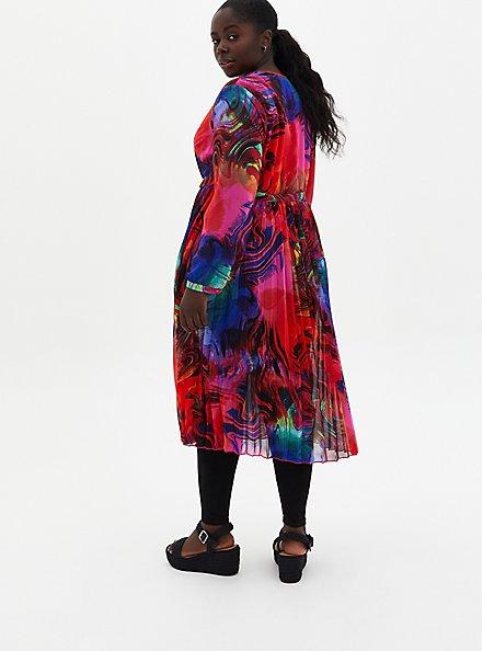 Multicolor Chiffon Pleated Maxi Kimono, , alternate