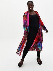 Multicolor Chiffon Pleated Maxi Kimono, , hi-res