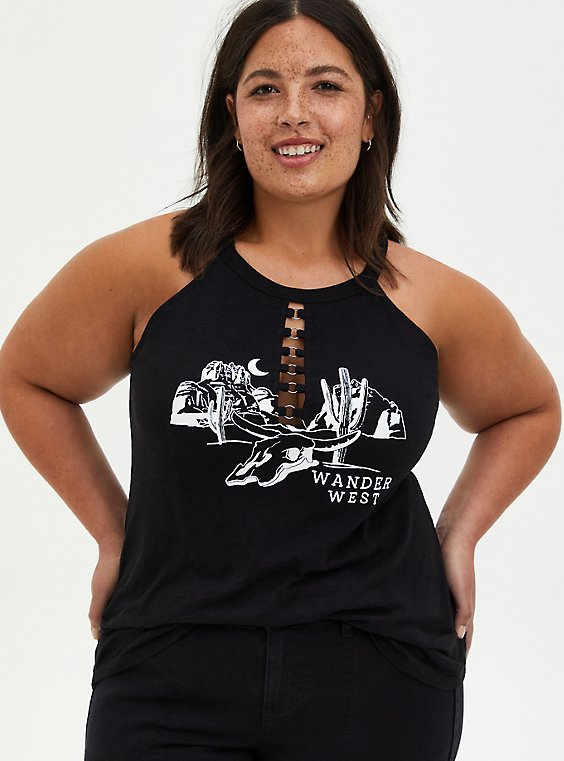 Wander O-Ring Black High Neck Tank, DEEP BLACK, hi-res