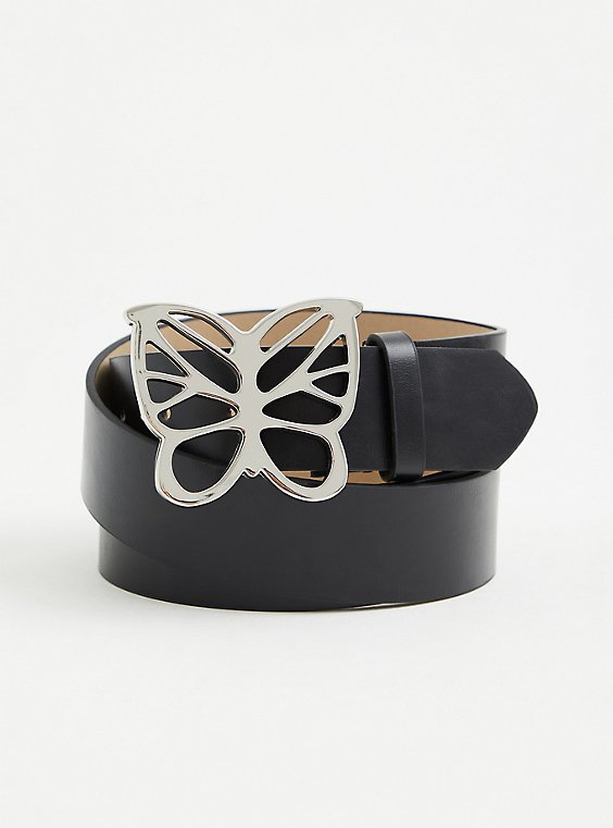 Silver-Tone Butterfly and Black Faux Leather Belt, BLACK, hi-res