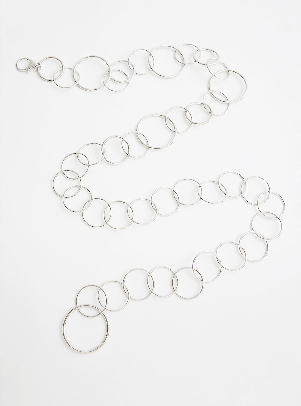Silver-Tone Ring Chain Belt, SILVER, hi-res