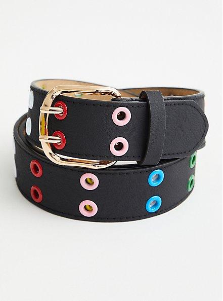 Multi Color Grommet Belt, MULTI, hi-res