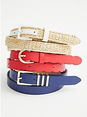 Red, White & Blue Skinny Belt - Set of 3, MULTI, hi-res