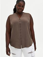 Harper - Taupe Gauze Button-Front Tunic, FALCON, hi-res