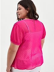 Pink Chiffon Clip Dot T-Shirt, PINK GLO, alternate