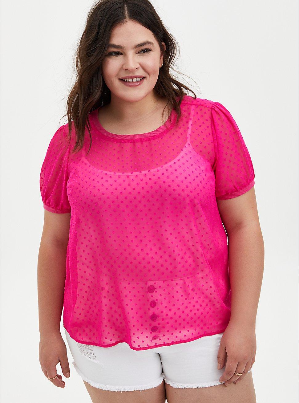 Pink Chiffon Clip Dot T-Shirt, PINK GLO, hi-res