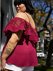 Plus Size Red Challis Embroidered Cold Shoulder Top , BEET RED, alternate