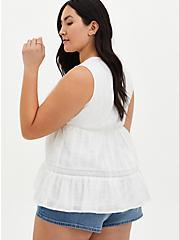 White Button Front Babydoll Top , CLOUD DANCER, alternate