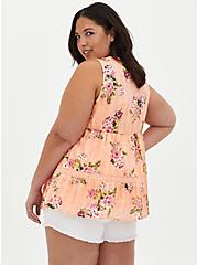 Peach Floral Button Front Babydoll Top, FLORAL - ORANGE, alternate