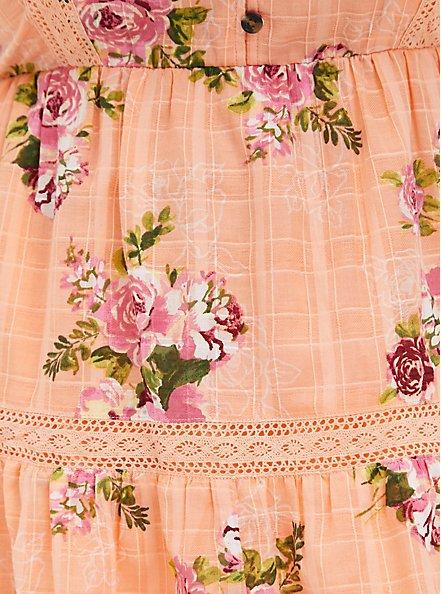 Peach Floral Button Front Babydoll Top, FLORAL - ORANGE, alternate