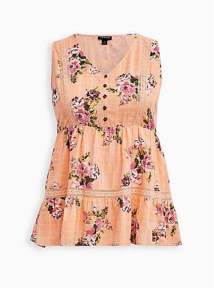 Peach Floral Button Front Babydoll Top, FLORAL - ORANGE, hi-res