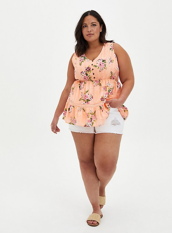 Peach Floral Button Front Babydoll Top, , hi-res