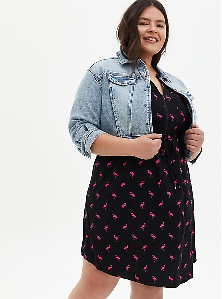 Black Flamingo Stretch Challis Zip Front Shirt Dress, FLAMINGO-BLACK, alternate