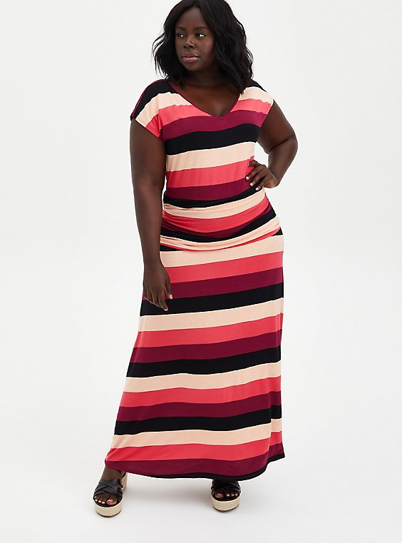 Red Stripe Super Soft Shirred Maxi Dress, STRIPE - MULTI, hi-res