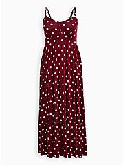 Red Polka Dot Super Soft Tiered Skater Maxi Dress , DOTS - RED, hi-res
