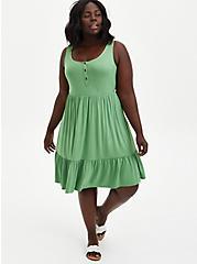 Green Super Soft Button Front Tiered Skater Dress , STONE GREEN, alternate