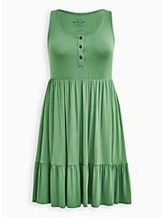 Green Super Soft Button Front Tiered Skater Dress , STONE GREEN, hi-res