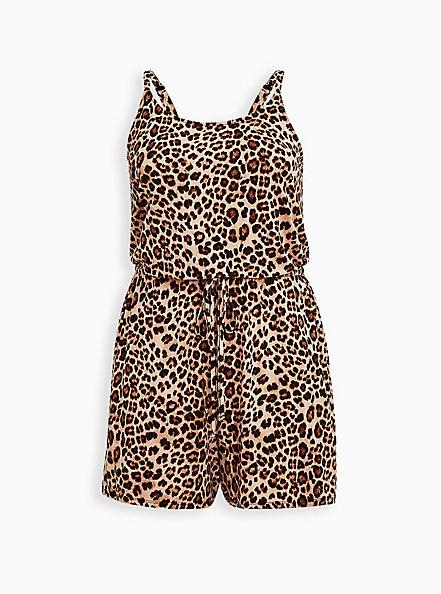 Leopard Super Soft Romper, FIFTIES LEOPARD BEIGE, hi-res