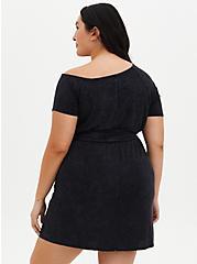 Off-Shoulder Black Wash Super Soft T-Shirt Dress, MINERAL BLACK, alternate