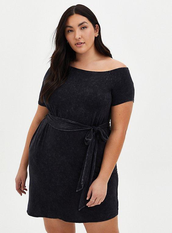 Off-Shoulder Black Wash Super Soft T-Shirt Dress, MINERAL BLACK, hi-res