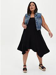 Black Jersey Handkerchief Trapeze Dress, DEEP BLACK, alternate