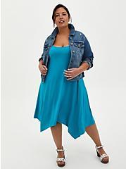 Teal Jersey Handkerchief Trapeze Dress, TEAL, alternate