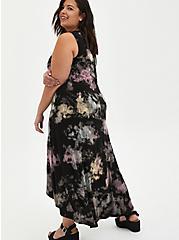 Plus Size Tie-Dye Skull Super Soft Hi-Low Maxi Dress, TIE DYE-BLACK, alternate