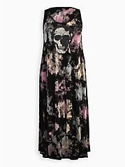 Plus Size Tie-Dye Skull Super Soft Hi-Low Maxi Dress, TIE DYE-BLACK, hi-res