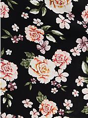 Black Floral Challis Trapeze Dress, FLORAL - BLACK, alternate