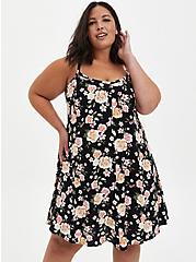 Black Floral Challis Trapeze Dress, FLORAL - BLACK, hi-res