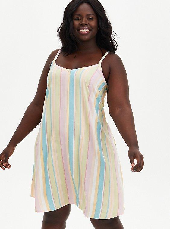 Multicolored Stripe Challis Trapeze Dress , STRIPE - MULTI, hi-res