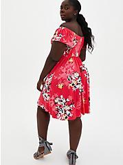Pink Floral Off Shoulder Super Soft Mini Skater Dress , FLORAL - PINK, alternate