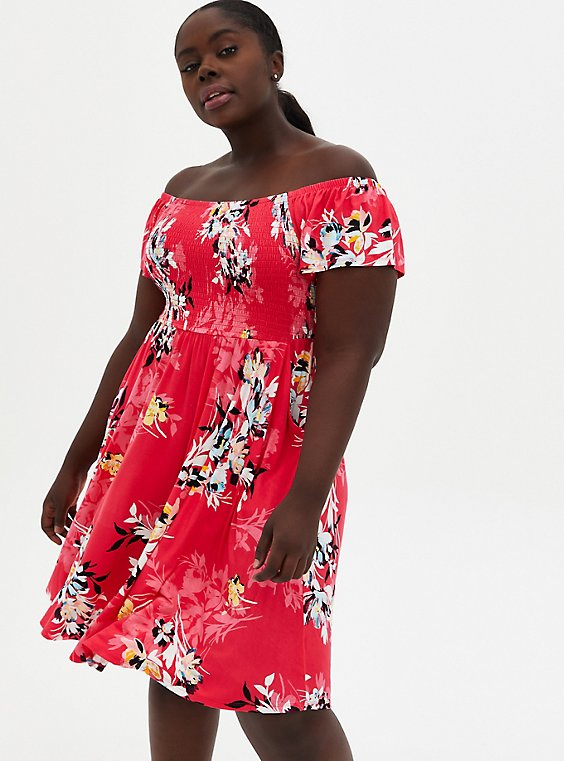 Pink Floral Off Shoulder Super Soft Mini Skater Dress , FLORAL - PINK, hi-res