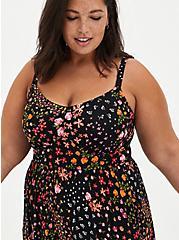 Black Floral Super Soft Tiered Midi Skater Dress, FLORAL - BLACK, alternate