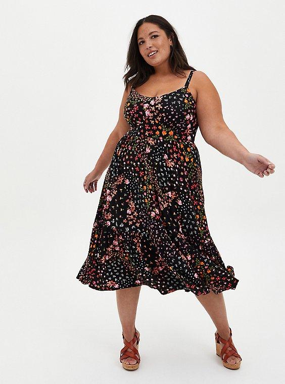 Plus Size Black Floral Super Soft Tiered Midi Skater Dress, FLORAL - BLACK, hi-res